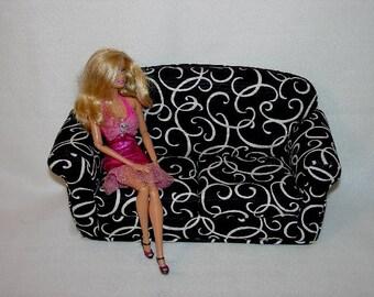 11 1/2 Inch Doll Sofa, Black Couch ,White Swirls,  Roll Arm,  Doll Furniture