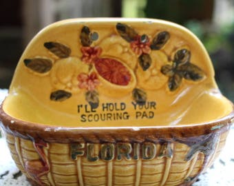 Vintage 1970's Era Souvenir of Florida I'll Hold Your Scouring Pad Ceramic Dish Holder