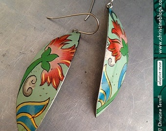 Vintage Pink Flowers -- Narrow Leaf Upcycled Tin Earrings