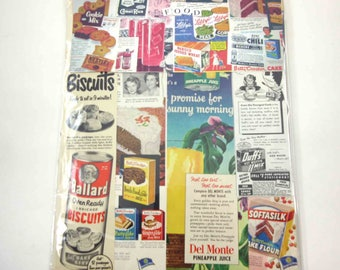Food Ephemera Pack 50 Pieces of Original Vintage Ephemera for Altered Art