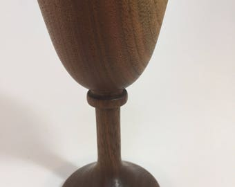 Vintage wood wine goblet