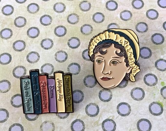 Jane Austen with Book Collection Enamel Pin