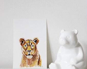 Mother of Lions, Lioness Art, Lion Art, Lion Portrait, Lion Painting, Minimalistic Lion, Nursery Lion, Mother Lion Art, Nursery Animal Art