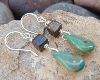 Genuine Turquoise Earrings - Sterling Silver - Bronzite - Western Jewelry - Cowgirl Earrings - Rustic Jewelry by Heart of a Cowgirl