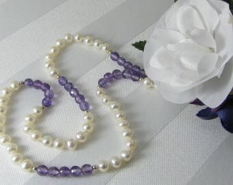 White Pearls, Faceted Amethyst, and Sterling Silver Necklace