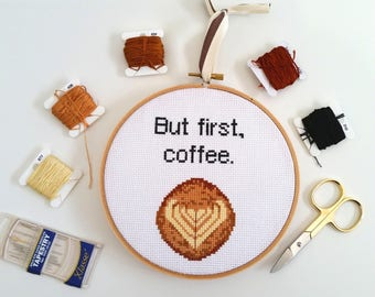 But First, Coffee - cross stitch pattern PDF instant download