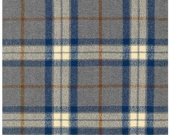 Robert Kaufman-STEEL- FULL YARD! Mammoth Flannel Plaid Fabric - Best Price Yet!