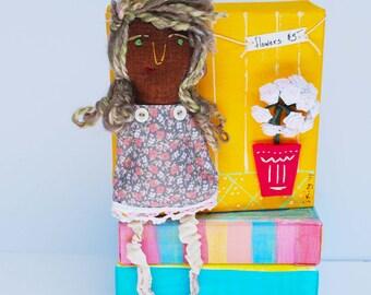 Flower Girl handmade fabric doll, embroidered doll, soft doll, girl doll, rag doll, birthday, gardener, farmers market