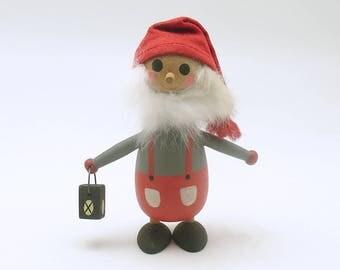Vintage Christmas Decoration Wood Tomte Figurine Santa Scandinavian