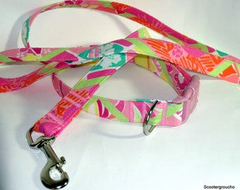 Sale -Handcrafted Lilly Pulitzer Diamond Head Patch Print Fabric Dog Collar & Leash Set