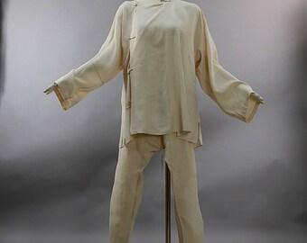 Antique Edwardian cream silk mens pajamas loungewear