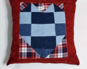 Heart Pillow Cover 18 inch X 18 inch . Envelope Cushion cover . Quilted Denim patchwork Heart desihn . Easy slip on for Him or Her . Gift.