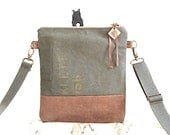 Military canvas & cognac leather crossbody, iPad bag - eco vintage fabrics