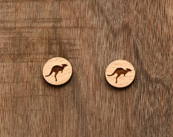 8 pcs Kangaroo Wood Charm, Carved, Engraved, Earring Supplies, Cabochons (WC 266)