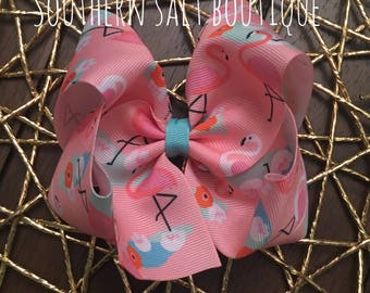 Flamingo Hair Bow -Boutique Hair Bow - Girls Hair Bow