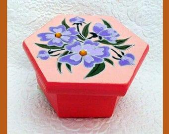 Coral Trinket Box, Jewelry Box, Jewelry Organizer, Hexagon, Hand Painted. Handmade, Floral Design, Unique Gift, Keepsake Jewelry Box