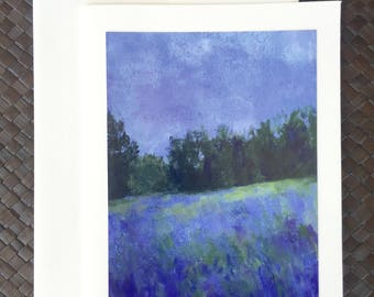 Lavender field greeting note card with envelope
