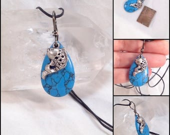 A fun little dyed Howlite drop with a fish charm, simple necklace, dangle, charm