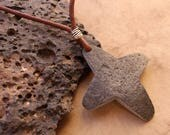 Native American Pueblo Style Star Pendant + Found Stone Amulet + Leather Cord + Short Necklace + Southwestern + New Mexico + Casual