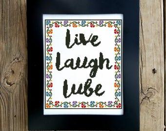 Bedroom Cross Stitch Chart, Funny Cross Stitch, Live Laugh Lube, Funny  Decor,