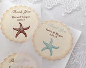 Beach Wedding Stickers, Beach Favor Labels, Starfish Stickers, Set of 10