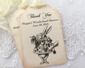 White Rabbit Tags, White Rabbit Bridal Shower Tags, Alice in Wonderland, Set of 10