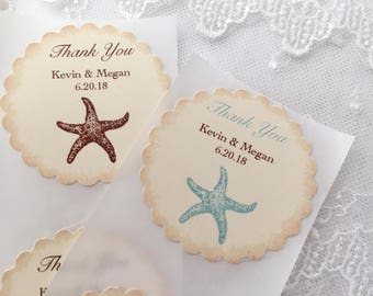 Beach Wedding Stickers, Beach Favor Labels, Starfish Stickers, Set of 10