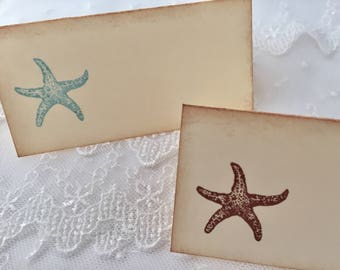 Starfish Place Cards, Beach Place Cards, Beach Wedding Place Cards, Set of 10