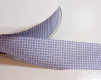Blue Gingham Ribbon, Periwinkle Blue Satin-Back Ribbon 1 1/2 inches wide x 10 yards