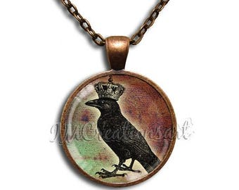 25% OFF - King Crow Glass Dome Pendant or with Chain Link Necklace  HD126