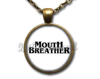 Mouth Breather White Glass Dome Pendant or with Chain Link Necklace WD190
