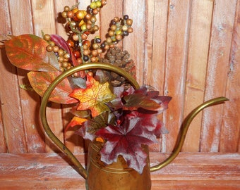 Antique Brass Watering Can with Fall Flower Arrangement,Beautiful Rustic Fall Fall Arrangement in Old Brass Pot