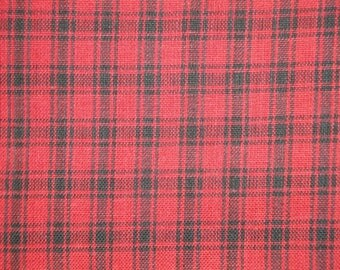 FLAWED Red And Black Plaid Fabric | Homespun Fabric | Cotton Fabric | Quilt Fabric | Cabin Plaid Fabric |  Fabric By The Yard