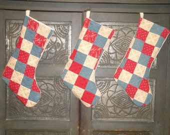 Christmas Stocking | Old Quilt Stocking | Vintage Quilt Stocking | Antique Quilt Stocking | Repurposed Old Quilt | Listing Is For 1