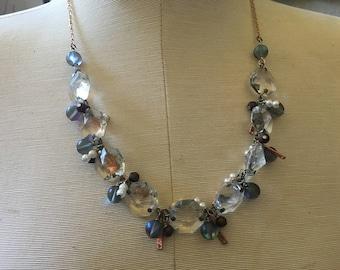 Mermaid Black Vintage Chandelier Crystal Copper Silver Pearl Statement Necklace