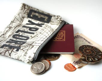 EXPLORE Cotton Pouch -- Handmade Small Purse, Perfect for Mother's Day gift, Wanderlust, World Traveler