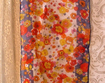 Vintage Flower Power Scarf 43 x 15 Navy Blue Orange Red Yellow Flowers Butterflies 1960's Chiffon Retro Hippie Free US Shipping