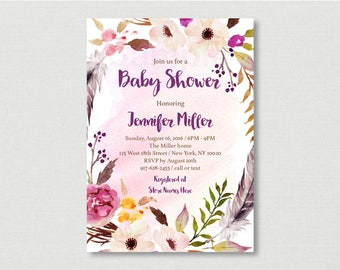 Pink Floral Boho Baby Shower Invitation / Floral Baby Shower Invite / Boho Baby Shower / Watercolor Floral / Rustic Floral / PRINTABLE A182