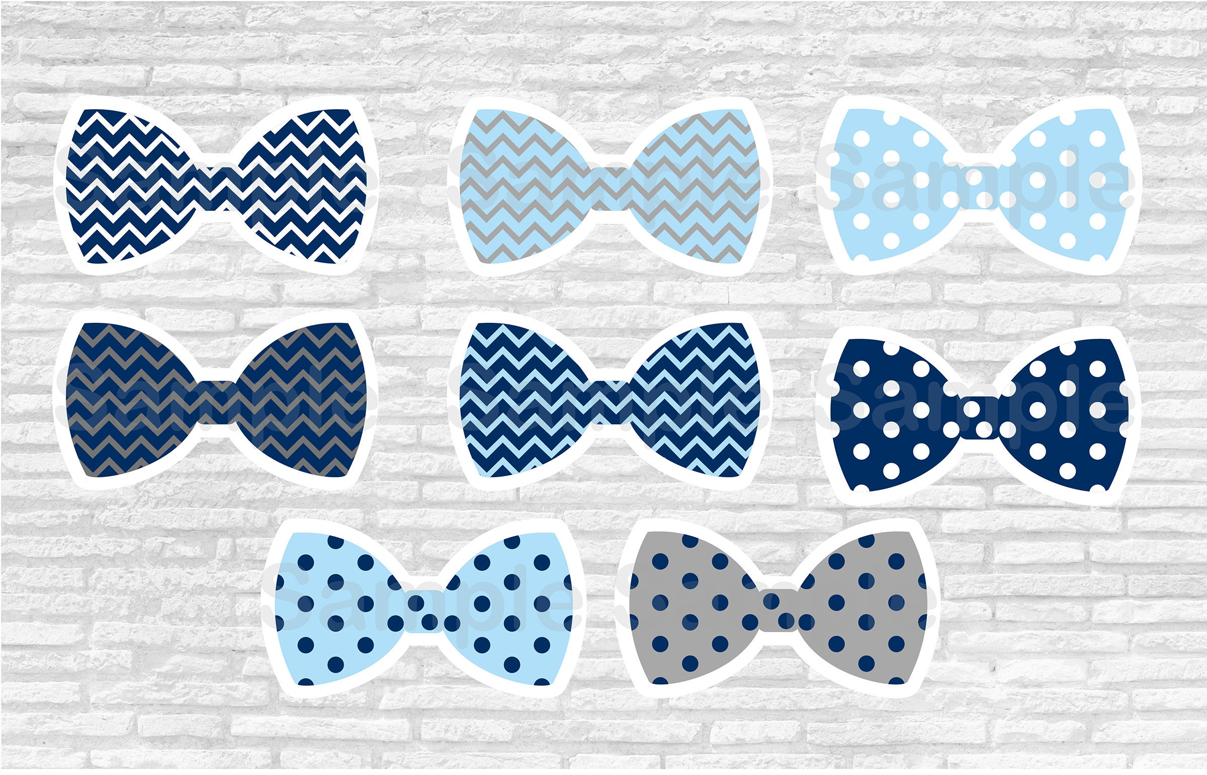 Bow Tie Cut Outs Little Man Baby Shower Chevron Bow Tie