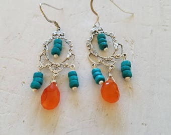 Turquoise And Orange Carnelian Gemstone Chandelier Earrings