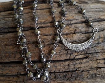Pave Diamond Crescent Moon Pendant Pyrite Wrapped Stones Oxidized Sterling Silver Necklace