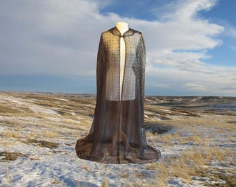 Black & Gold Lace Cape Cloak Hooded Halloween Renaissance Cloak Medieval Gothic Merlin Twilight Vampire