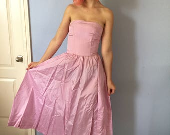 Vintage 1950s Satin Party Dress - Pink - Extra Small Strapless with Headpiece