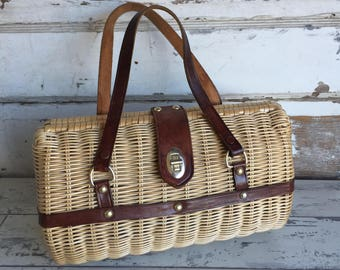 Vintage Wicker Purse - Handmade Barrel Crown Colony Hong Kong Leather Details - Excellent Brown and Rattan