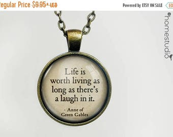 ON SALE - Green Gables (Laugh) Quote jewelry. Necklace, Pendant or Keychain Key Ring. Perfect Gift Present. Glass dome metal charm by HomeSt