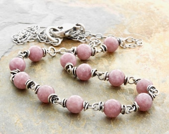 Pink Necklace - Sterling Silver - Lepidolite Necklace - Pink Gemstone Necklace - Mauve Gemstone Necklace - Gift for Her - 4891