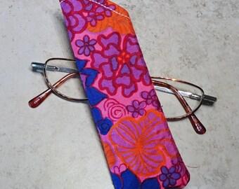 Reader Eyeglass Case Sleeve, Pink & Purple Silk Fabric Glasses Case, Reader Glass Sleeve, Reader Case, Gift under 10, Gift for Her, Boho