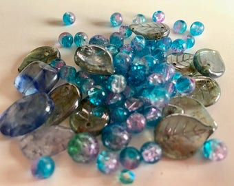 Turquoise Multi Glass Bead Mix-Loose Beads