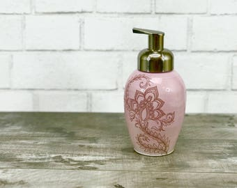 Lavender pink glazed porcelain foam soap dispenser/ foaming soap dispenser/ ceramic dispenser with henna design and brushed nickel pump