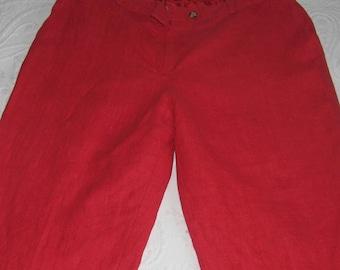 red linen pants . high waisted linen pants  . red lined linen pants . lined linen pants . harvre beard by Bernard holtzman